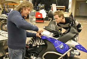 Charley & Ewan work on one of the bikes